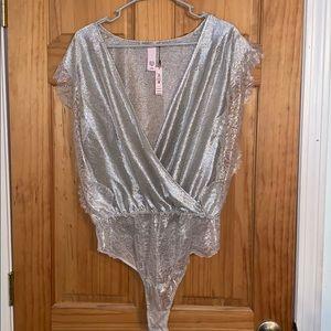 Metallic and lace bodysuit